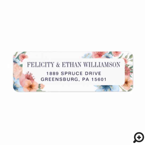 Elegant Floral Watercolor Botanical Flower Wedding Label