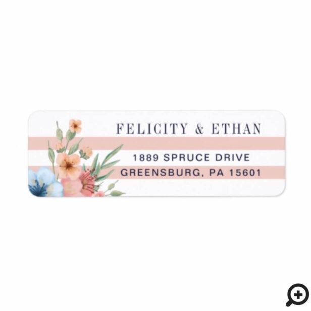 Blush Pink & Pale Blue Watercolor Florals & Stripe Label