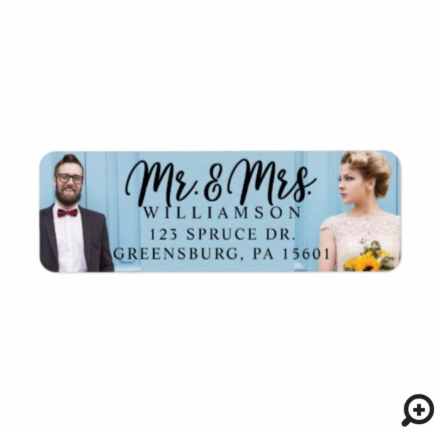 Mr. & Mrs. | Modern Bride & Groom Wedding Photo Label
