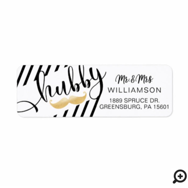 Bold Trendy Black White Gold Moustache Hubby Label