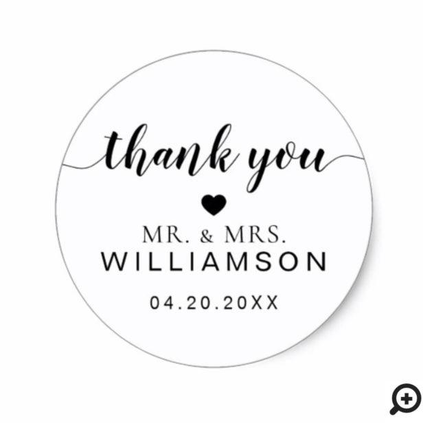 Mr. & Mrs. | Minimalistic Wedding Black Thank You Classic Round Sticker