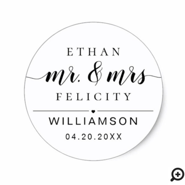Mr. & Mrs. | Minimal Bride & Groom Black Wedding Classic Round Sticker