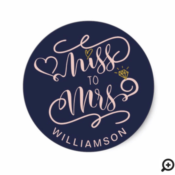 Miss To Mrs | Navy & Gold Heart & Ring Wedding Classic Round Sticker