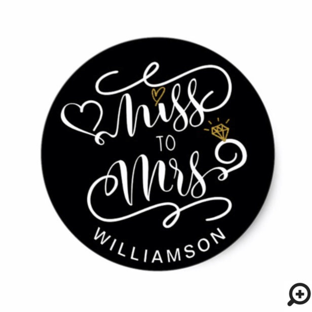 Miss To Mrs | Black & Gold Heart & Ring Wedding Classic Round Sticker