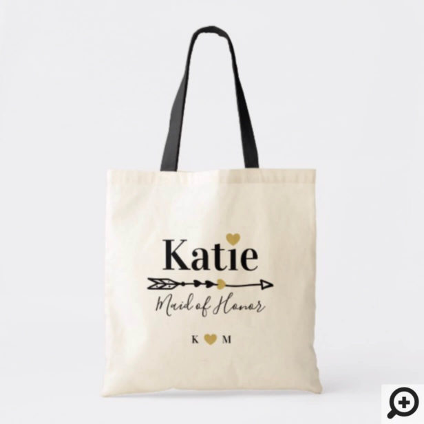 Chic Bohemian Arrow Maid of Honor Name & Monogram Tote Bag