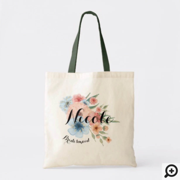 Personalized Wedding Tote - Elegant Bouquet floral