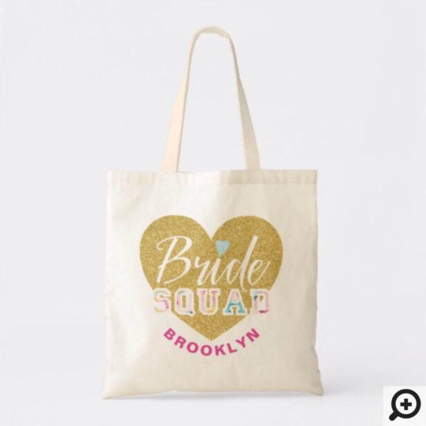 White Varsity Style Bride Squad Name Wedding Tote