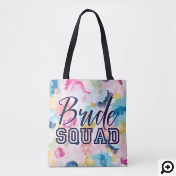 Floral Flowers Varsity Bride Squad Wedding Tote