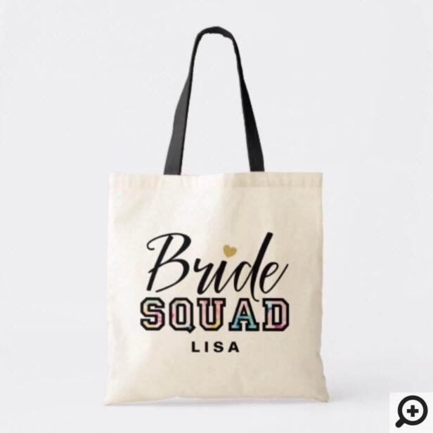 Black Varsity Style Bride Squad Name Wedding Tote