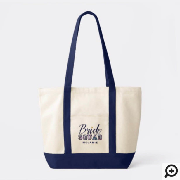 Personalized Navy Varsity Bride Squad Wedding Tote
