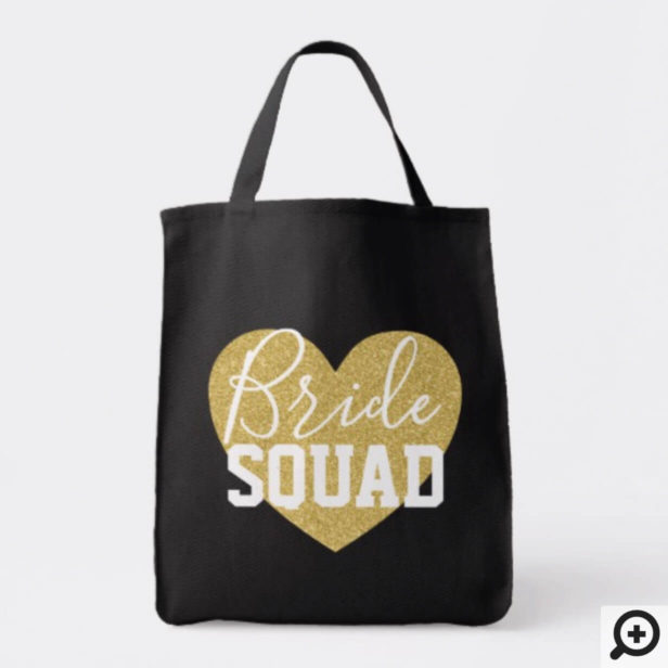 Personalized Wedding Tote - Gold Heart Bride Squad