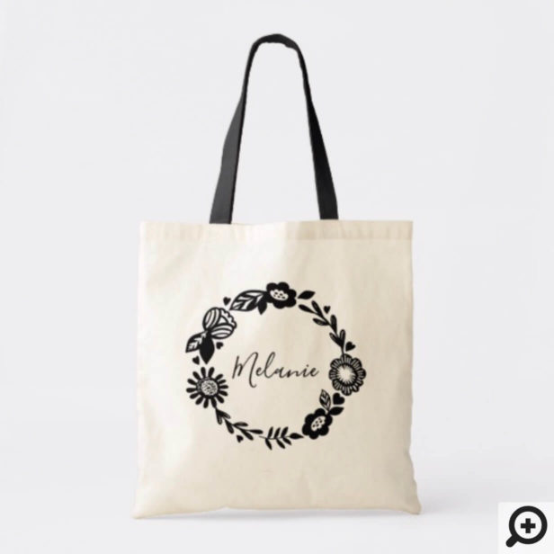 Personalized Wedding Tote - Modern Floral Wreath