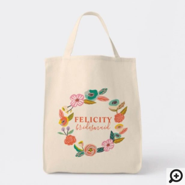 Personalized Wedding Tote - Floral Abstract Wreath