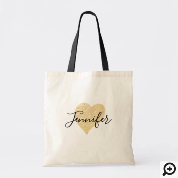 Personalized Wedding Tote - Modern Faux Gold Heart