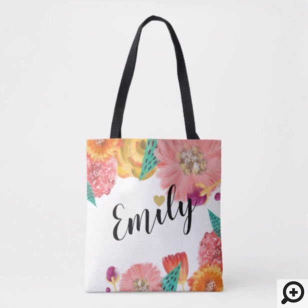 Personalized Wedding Tote - Wildflower Botanical