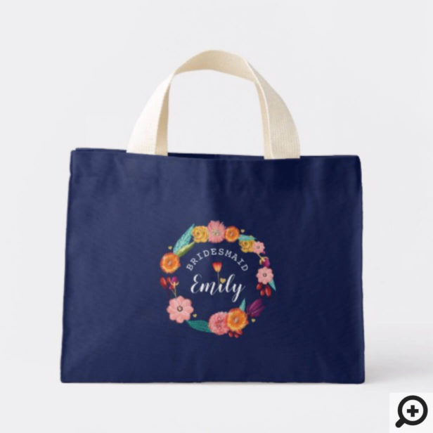 Personalized Wedding Tote - Wildflower Wreath