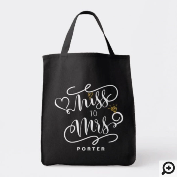 Miss To Mrs | White & Gold Marriage Heart & Ring Tote Bag