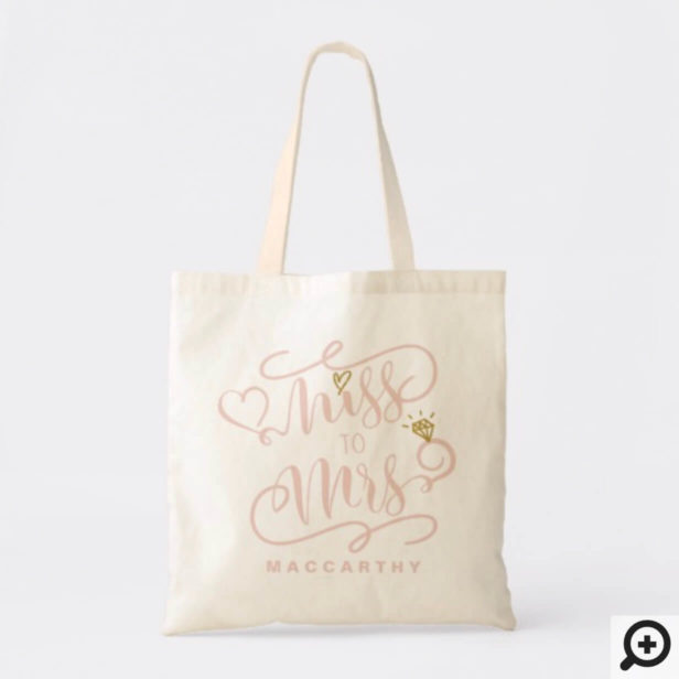 Miss To Mrs | Pink & Gold Marriage Heart & Ring Tote Bag