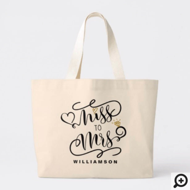 Miss To Mrs | Black & Gold Marriage Heart & Ring Large Tote Bag