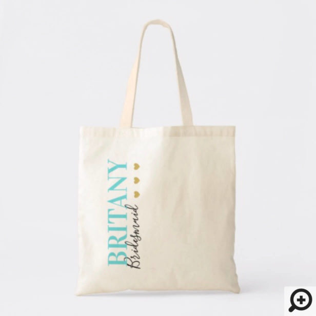 Modern Clean Chic Bridesmaid Gold Heart Wedding Tote Bag