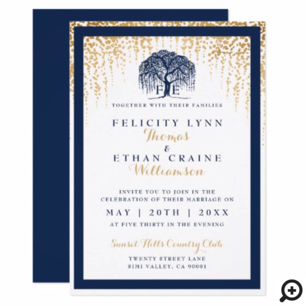 Modern Willow Tree Navy Gold Wedding Invitation