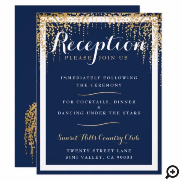 Modern Willow Tree Blue Gold Wedding Reception Invitation