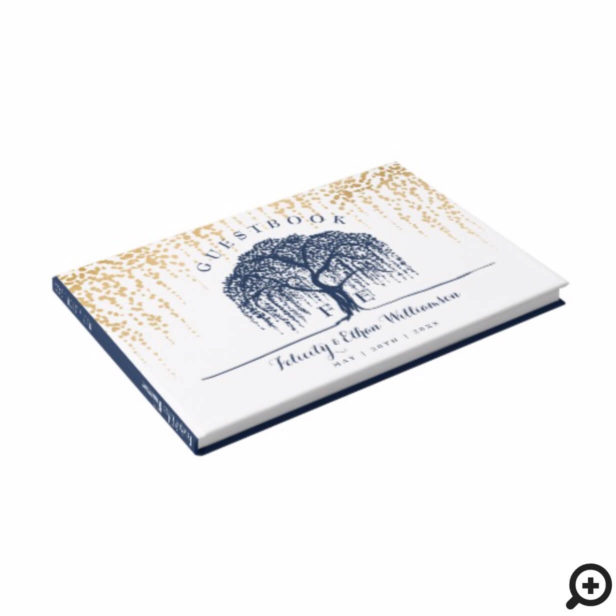 Elegant Modern Willow Tree Navy Blue Gold Wedding Guest Book