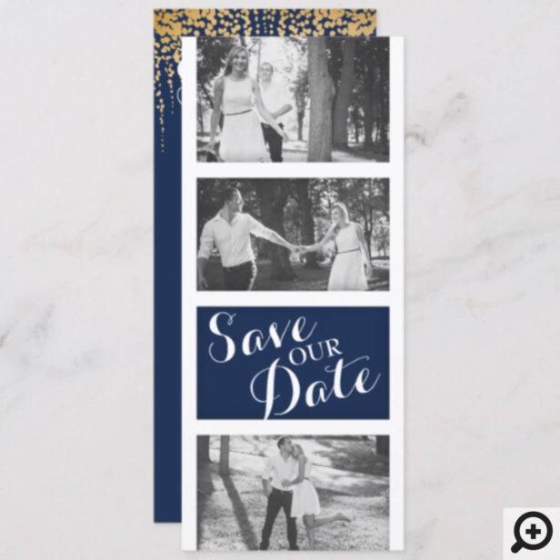 Modern Navy Blue Gold Wedding Photo Save The Date