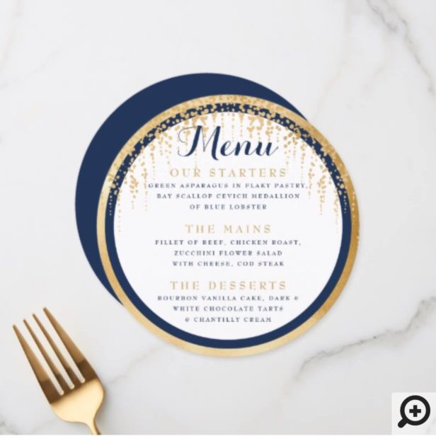 Modern Willow Tree Navy Blue Gold Wedding Menu