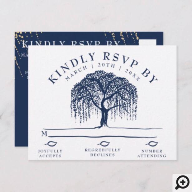 Modern Willow Tree Navy Blue Wedding RSVP Postcard