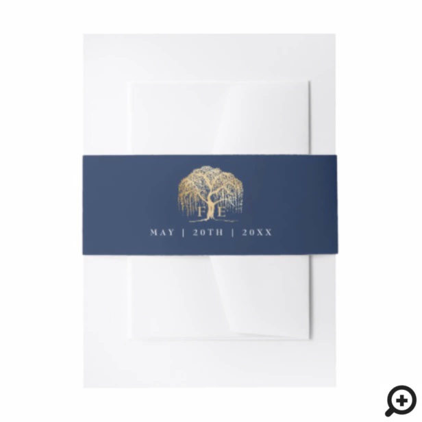 Elegant Modern Willow Tree Navy Blue Gold Wedding Invitation Belly Band