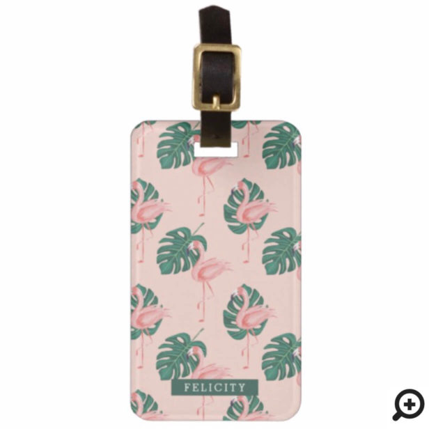 Stylish Tropical Flamingo Palm Leaf Pink & Green Bag Tag