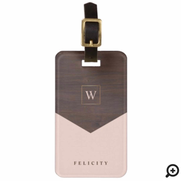 Chic Blush Pink, Dark Wood & Gold Stylish Monogram Bag Tag