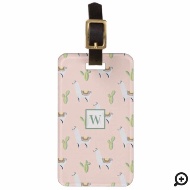 Llama & Cactus Pattern Pink & Green Monogram Bag Tag