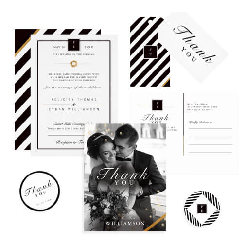 Black Gold and White Wedding Suite Collection