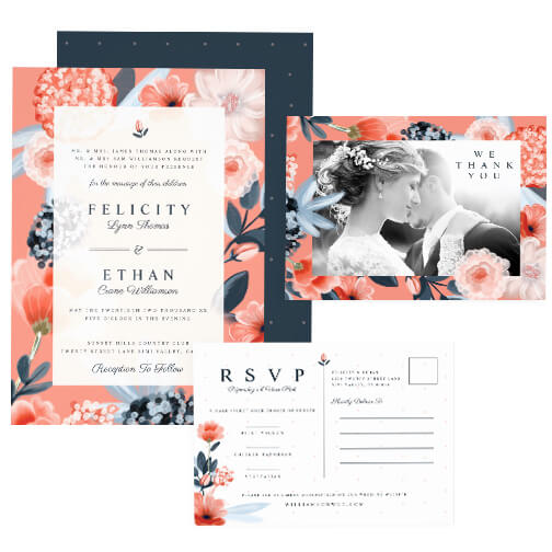 Blush Floral Botanical Wedding Design Collection
