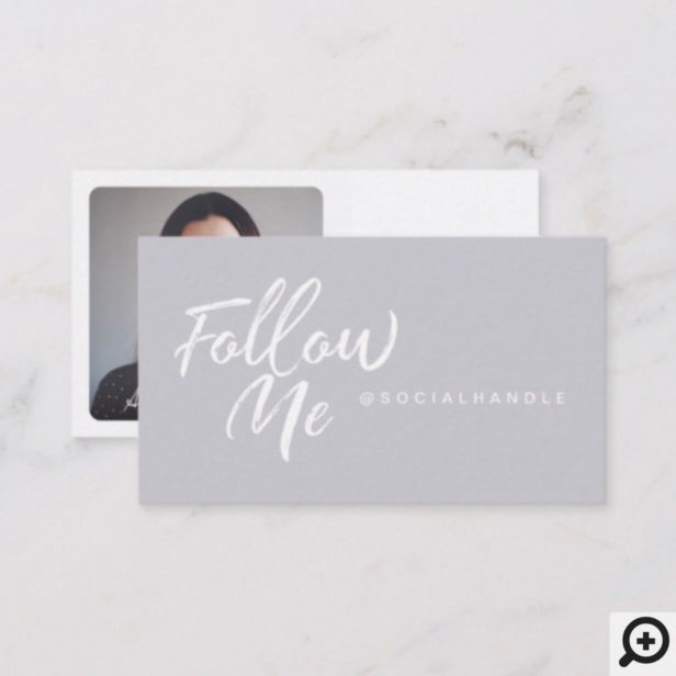 Modern Lavender Social Media Follow Me Photo Business Card