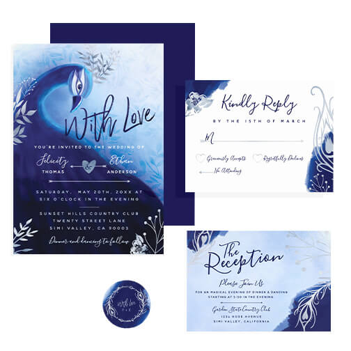 Midnight Indigo Peacock Wedding Design Collection