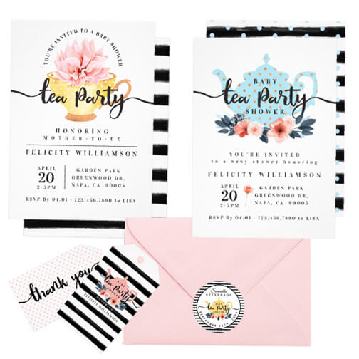 Vintage Baby Shower Tea Party Design Collection