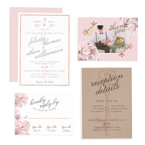 Vintage Floral Key Wedding Design Collection
