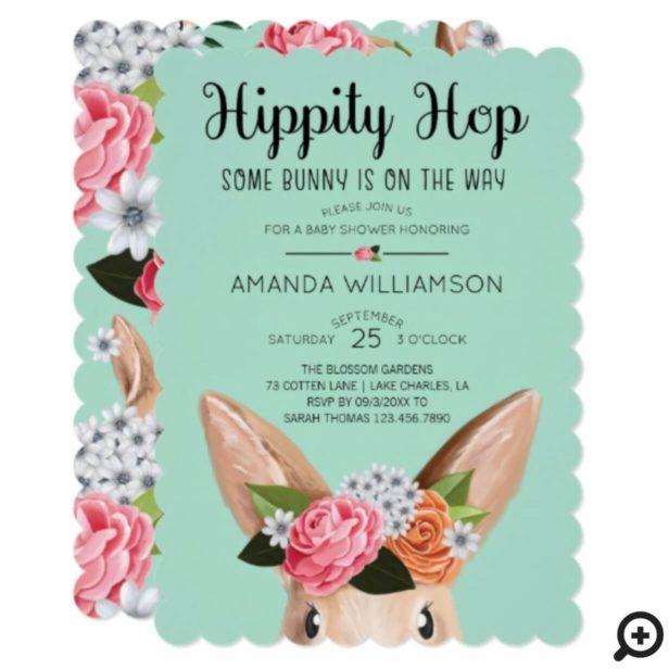 Teal Hippity Hop Easter Floral Bunny Rabbit Baby Shower Invitation