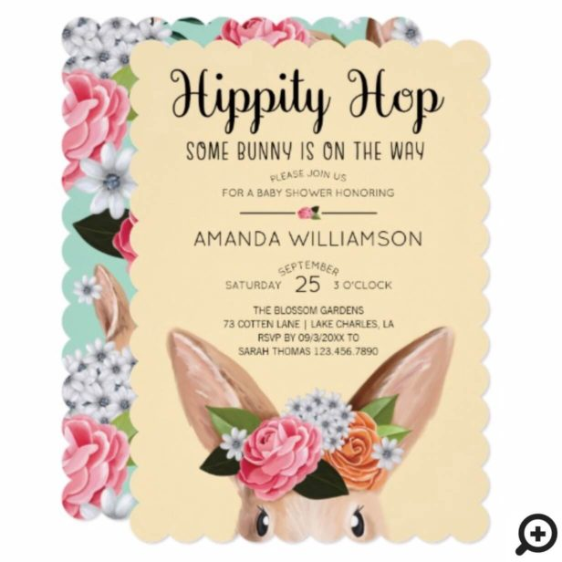 Yellow Hippity Hop Easter Floral Bunny Rabbit Baby Shower Invitation