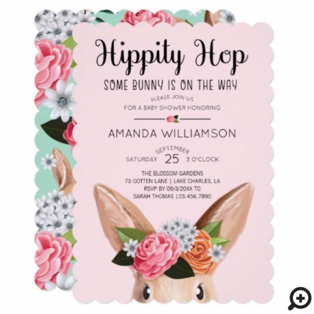 Pink Hippity Hop Easter Floral Bunny Rabbit Baby Shower Invitation