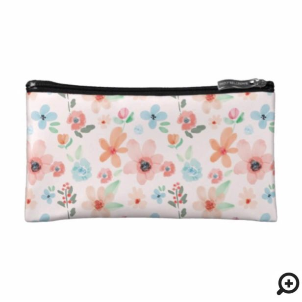 Spring Watercolor Pink Floral Pattern Cosmetic Bag