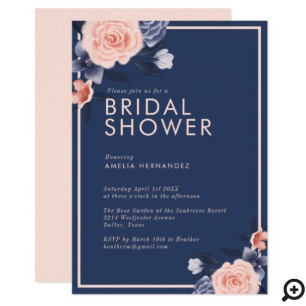 Dusty Rose Watercolor Floral Modern Bridal Shower Invitation