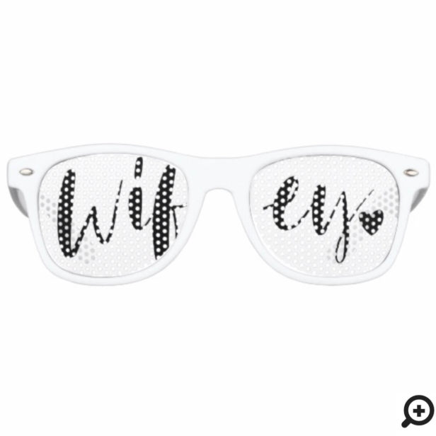 Wifey Love | Stylish Black Brush Script & Heart Retro Sunglasses
