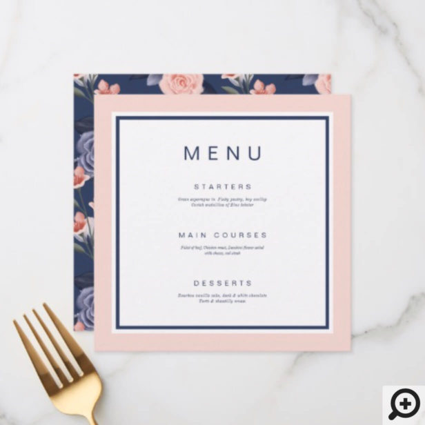 Dusty Rose Watercolor Floral Modern Pink Wedding Menu