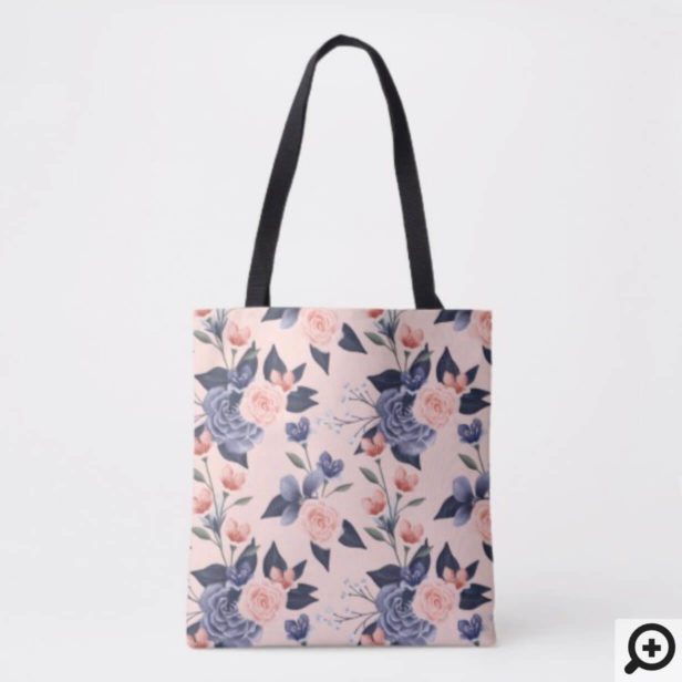 Dusty Rose Watercolor Floral Modern Pink Wedding Tote Bag