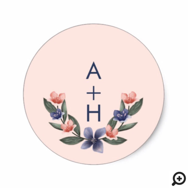 Dusty Rose Watercolor Floral Modern Pink Wedding Classic Round Sticker