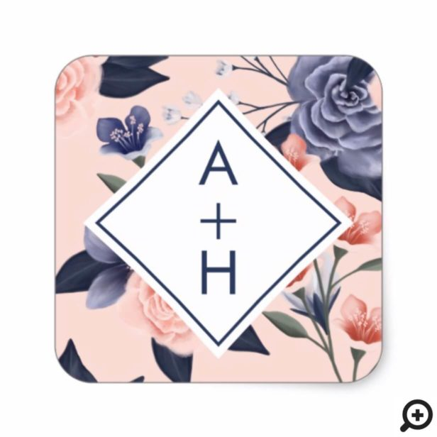 Dusty Rose Watercolor Floral Modern Navy Wedding Square Sticker